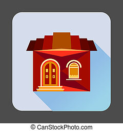 Cute red house icon, flat style