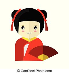 Cute Red Kimono Girl Character Vector Illustration Graphic