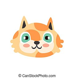 Cute red kitten head with blue eyes, funny cartoon cat character, adorable domestic pet vector illustration
