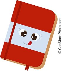 Cute red notebook, illustration, vector on white background.
