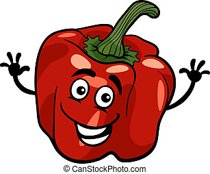 cute red pepper vegetable cartoon illustration - Cartoon...