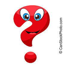 Cute red question mark with eyes and a smile.