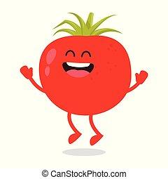 Cute red ripe funny tomato