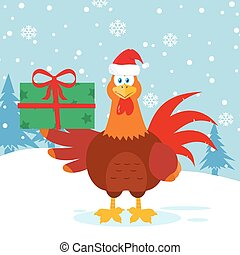 Cute Red Rooster Bird Cartoon Mascot Character With Santa Hat Holding Gifts