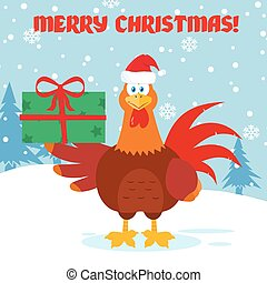 Cute Red Rooster Bird Cartoon Mascot Character Holding Gifts