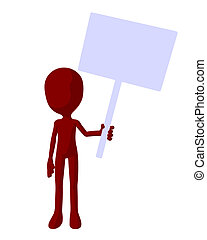 Cute Red Silhouette Guy Holding A Blank Sign - Cute red...