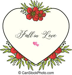 Cute red wreath frame, for template of card fall in love, romantic. Vector