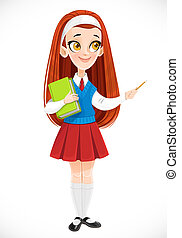 Cute redhaired schoolgirl holds book in her hand and points to the side with a pencil isolated on white background