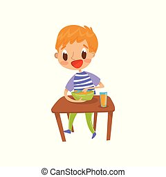 Cute redhead boy eating soup on the dining table vector Illustration isolated on a white background