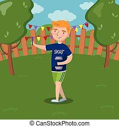 Cute redhead boy making selfie photo in the garden, summer landscape vector Illustration