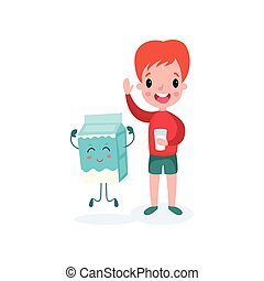 Cute redhead boy playing with smiling humanized package of milk, healthy food for kid cartoon vector illustration