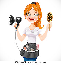Cute redhead girl hairdresser with hair dryer and hairbrush isolated on a white background