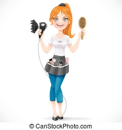 Cute redhead girl hairdresser with hair dryer and hairbrush portrait in full growth isolated on a white background