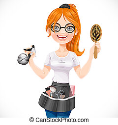 Cute redhead girl hairdresser with spray and hairbrush portrait isolated on a white background