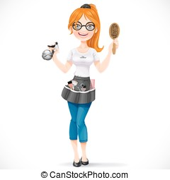 Cute redhead girl hairdresser with spray and hairbrush portrait in full growth isolated on a white background