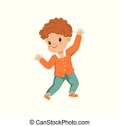 Cute redhead little boy dancing in casual clothes vector Illustration on a white background