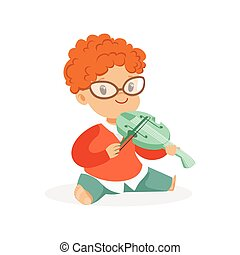 Cute redhead little boy playing violin, young musician with toy musical instrument, musical education for kids cartoon vector Illustration