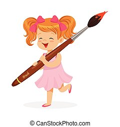 Cute redhead little girl in a pink dress holding giant paintbrush cartoon vector Illustration