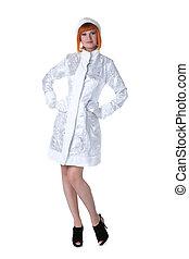 Cute redhead model posing dressed as Snow Maiden