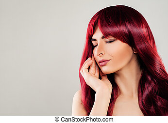 Cute Redhead Woman with Red Curly Hair