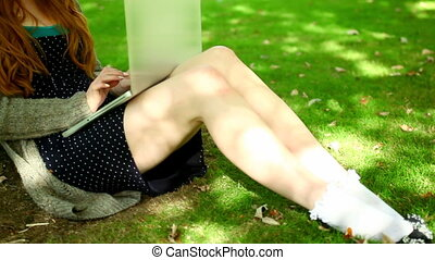 Cute redhead working with her notebook sitting on lawn in...