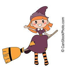 Cute redheaded witch sitting on a broom isolated on white background