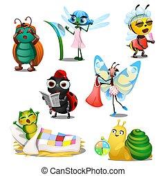cute, regime, jogo, illustration., insetos, close-up, isolado, day., experiência., vetorial, branca, manhã, alegre, caricatura