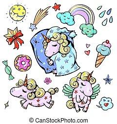 cute, regnbue, pastel, sød, illustration, sov, farver, vektor, enhjørning, baby, glade