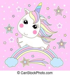cute, regnbue, vector., illustration, stjerner, enhjørning