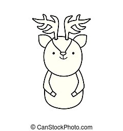 cute reindeer cartoon character animal thick line