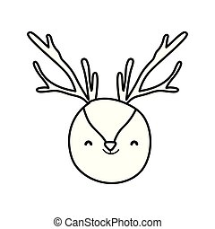 cute reindeer head cartoon animal thick line