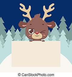 Cute reindeer holding a blank sign