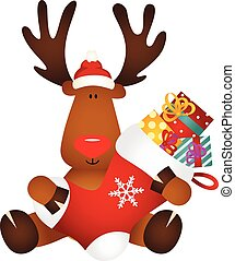 Cute reindeer holding Christmas stocking with gifts
