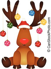 Cute reindeer sitting with glass ball Christmas