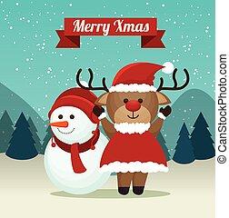cute reindeer snowman suit santa landscape background merry xmas label