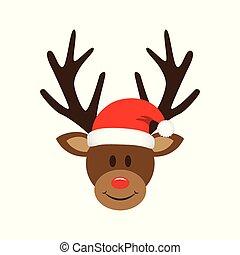 cute reindeer with christmas santa hat