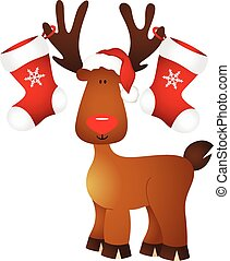 Cute reindeer with Christmas stocking