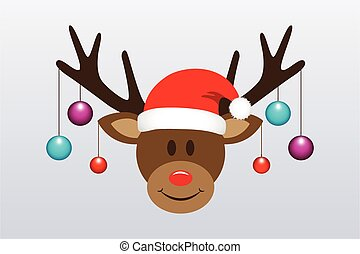 cute reindeer with christmas tree balls and santa hat