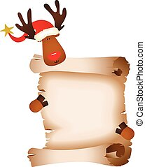 Cute reindeer with parchment