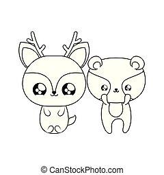 cute reindeer with raccoon baby animals kawaii style