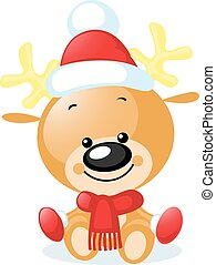 cute reindeer with santa cap - vector illustration