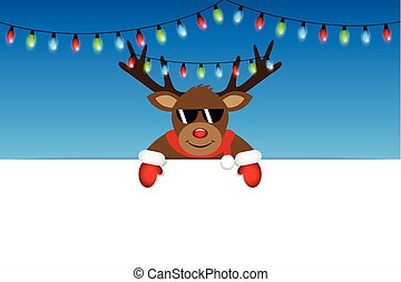 cute reindeer with sunglasses and christmas fairy lights white banner