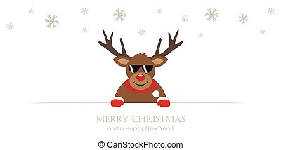 cute reindeer with sunglasses cartoon christmas card