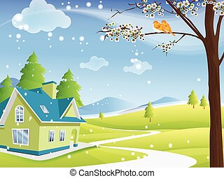 Cute remote rural house in winter - A green and blue...