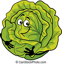 cute, repolho, vegetal, caricatura, ilustração
