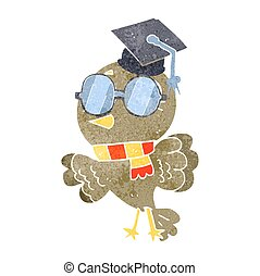 cute retro cartoon well educated bird