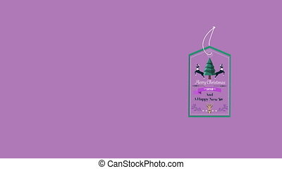 Cute retro christmas greeting with copy space on purple ...