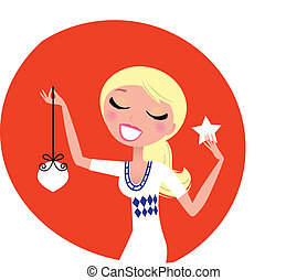 Cute retro Christmas Woman with decoration isolated on red