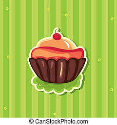 Cute retro Cupcake on striped background
