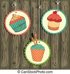 Cute retro cupcake on the string on the wooden background . Vector card.